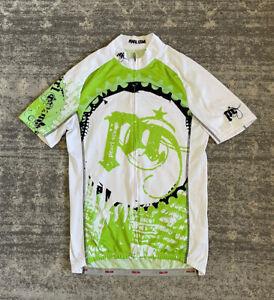 Pearl Izumi Cycling Jersey Mens L Full Zipper Green White Mesh Short Sleeve B9