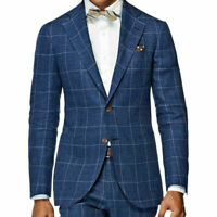 Men Check Suits Blue Tuxedos Notch Lapel Blazer Coat 2 Pcs Jackets Pants Custom