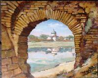 ::PLESKAU PSKOW RUSSLAND ÖLGEMÄLDE ANTIK UM 1930 RUSSIN ART SANKT PETERSBURG ÖL