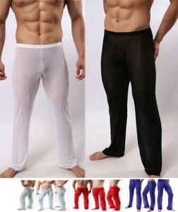 Mens Sheer Mesh Pants Home Sexy Trousers See Trough #283