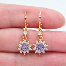 18K Yellow Gold Filled Women Purple Topaz Zircon Sunflower Earrings Jewelry