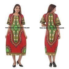 African Dashiki Hippie Ethnic Cotton Long Tribal Poncho Maxi Dress Kaftan Gown