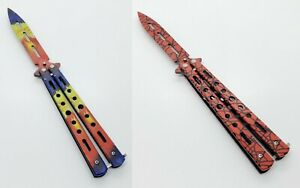 Butterfly Balisong Trainer DULL Knife Tool Metal Practice (Red or Multi-Color)