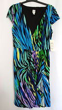 NEW Sangria Pleat Ruffle Blue Green Black Cocktail Party Stretch Wrap Dress 8 M