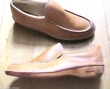 FRENCH 1960s MEN LEATHER SLIP-ON MOC TOE LOAFERS ~MADE IN FRANCE~ NEW & BOX~ 7.5