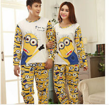 NEW Girl/Boy Cute Despicable Me 2 Minions Long Top Trousers Pyjamas Pajamas Sets