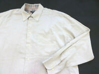 Burberry London Dress Shirt Men's size 46 Beige long sleeve Button Front cotton