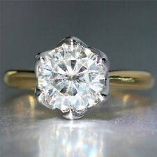 2 Ct Round Cut Moissanite Engagement Wedding Ring 9K White/ Yellow Gold