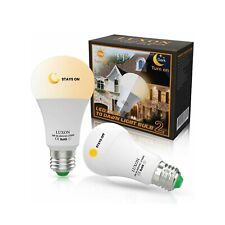 2PK Dusk to Dawn LED Bulbs Sensor Smart Light Lamp 9W E26/E27 Auto On/Off 2700k
