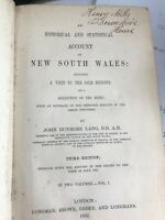 An Historical & Statistical Account of NSW  John Dunmore Lang Vol 1 1852 3rd ed