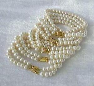 "Wholesale 5PC 2 ROW 7-8mm White Akoya Cultured Pearl Bracelet 8"""
