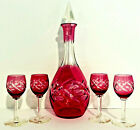 Antique Bohemian Cranberry Cut To Clear Crystal Aperitif Decanter & Glasses Set