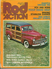 ROD ACTION Nov. 1974 - Can-Am, Upholster '33-'34 Ford, Stainless Dash, '46 Chevy