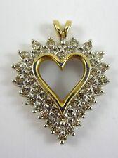 BEAUTIFUL LADIES 10K TWO-TONE GOLD DIAMOND CLUSTER HEART PENDANT 3.8G 0.805CT