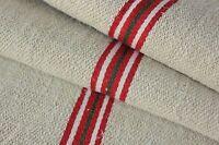 GRAIN SACK feedsack European red and GREEN stripe Christmas fabric vintage bag
