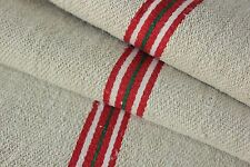 GRAIN SACK feedsack European red and GREEN stripe Christmas fabric vintage bag