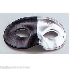 Mens Domino Harlequin Black & Silver Eye Mask Fancy Dress Masked Ball Masquerade