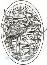 Bird Great Blue Heron Oval Wood Mounted Rubber Stamp Northwoods P4978 New