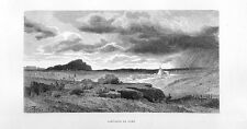 Stampa antica CAMPAGNA di ROMA veduta panoramica 1877 Old print Rome