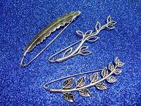 Silver Feather Leaves Vine Decorative Pin Brooch Abaya Hijab  Kilt Shawl Scarf