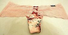 CaciqueNylon Lace Thong Peach & Wine Multi Floral  14/16 0X CT 190801 SEXY NEW