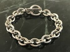 """Sterling Silver Rolo Link Chain Bracelet 6.75"""" Toggle Clasp"""