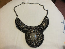 Beautiful Necklace done in Dark Silver Tone Black Felt Smoky Rhinestones UNIQUE