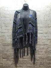 Allison Brittney Long Cardigan Sweater Womens Small Openfront Multicolor Knit