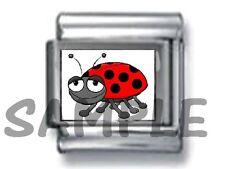 CUTE LADYBUG 9MM ITALIAN PHOTO CHARM LINK garden bug lady beetle ladybird