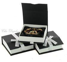 LOT OF (3) BANGLE BOX BLACK BRACELET BOX BANGLE WATCH BOX JEWELRY GIFT BLACK BOX