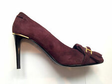 BURBERRY PRORSUM BURGUNDY SUEDE LEATHER COURT SHOES HEELS SIZE 4 / 37 NEW