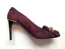BURBERRY PRORSUM Bordeaux En Cuir et Daim Escarpins Chaussures Talons Taille 4/37 NEUF