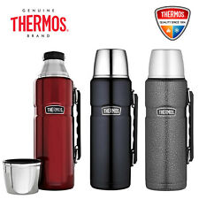 NEW Thermos Stainless King S/Steel Vacuum Insulated Flask 1.2L Red Blue FreePost