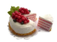 Raspberry Fruit Cake with A Slice Cut Dollhouse Miniatures Food Bakery -3