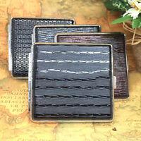 Unisex Womens Mens Thin Slim Faux Leather 20pcs Cigarette Box Holder Pro