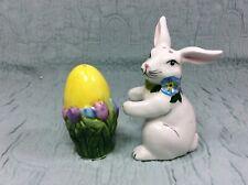 Nib Blue Sky Clayworks Easter Bunny Rabbit & Egg Salt & Pepper Shaker Set