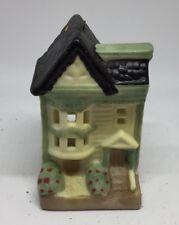 Mini Christmas Village Accessories Green House Brick Ceramic Roof