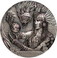 2017 3 Oz Silver $20 Cook Island QUETZALCOATL Antique Finish Coin PCGSMS70 FD.