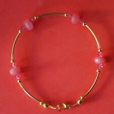 "Beautiful Gold Plated Bracelet With Faceted Kunzite & Crystal Beads 8"" Inch Long"