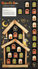 "Halloween Owl Advent Calendar Cotton Fabric SSI Halloween Hoot 24""X44"" PANEL"