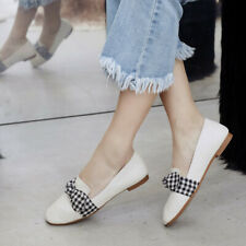 Women Loafers Flats Plaid Bow Knot Slip On Sweet Comfort Pumps Casual Shoes New