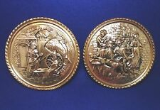 """Vintage Pair of Brass Wall Plaques - Pub / Domestic Scenes - Made in England 8"""""""
