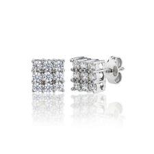 Luxury Silver 925 Square Shaped Cluster Stud Earrings 1.00ct Diamond Swarovski