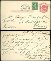 1912 Bloomfield NJ CDS Uprated PC, Foreign Destination BERNE SWITZERLAND SC #405