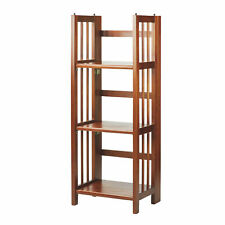 Casual Home 3 Shelf 14 Inch Folding Office Furniture Wood Bookcase, Mahogany