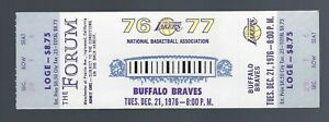 1976 NBA BUFFALO BRAVES @ LOS ANGELES LAKERS FULL TICKET - ADRIAN DANTLEY ROOKIE
