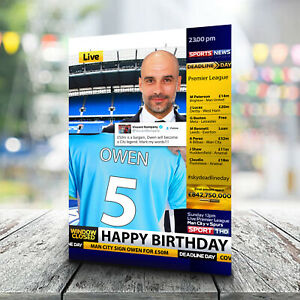 Man City Birthday Card - Personalised With Any Name and Age. Football
