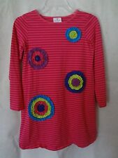 Hanna Andersson Pink Striped Tunic Knit Dress Ruffled Circle Flowers 140 (9-11)