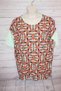Lularoe Irma Blouse Tunic Green Pink Aztec High Low Size XL Unicorn blouse New