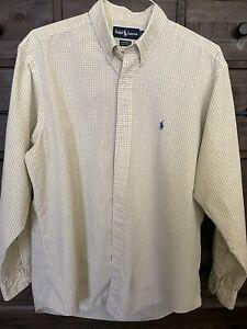 RALPH LAUREN Mens L Yellow Dress Shirt 100% Cotton 16 1/2 Neck 34/35 Sleeve